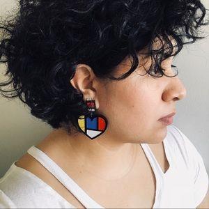 Geometric Hear Acrylic Earrings